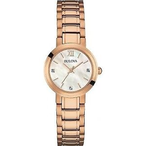 BULOVA LADIES DIAMOND ROSE GOLD PLATED BRACELET WATCH - MNX