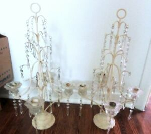 Two Antique Candelabras Cast iron Painted White Crystal Prisms
