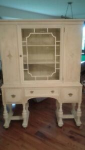 Circa 1911 Antique Dining Room Table and China Cabinet