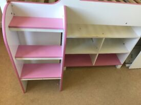 Pink Cabin Bed With Drawers And Shelves