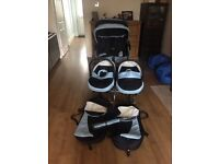Twin pram from new born to age 5yrs can be used for newborn and toddler at same time