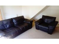 Dfs Italian leather 3 seat sofa and single chair. Fantastic condition.