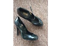 Bottle green, patent leather heels, size 6 1/2
