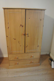 Kids pine wardrobe with 2 drawers