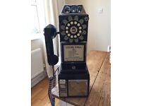 Classic Black 1950's Retro Diner Payphone