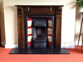Victorian cast iron fire surround with inset tiles