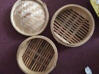 large bamboo steamer - lid and two steamer layers. size of dining plate