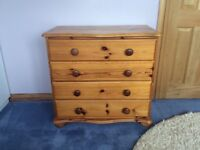 Solid pine wardrobe & chest of drawers