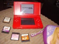 NINTENDO DS LITE MINT CONDITION WITH GAMES AND CHARGER AND CASE