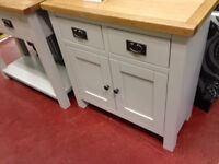 New grey & oak Small mini sideboard fully built and in stock £215