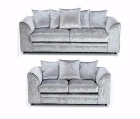 ★★ CRUSHED VELVET FABRIC ★★ LEFT OR RIGHT HAND SIDE CORNER SOFA AND 3 + 2 SEATER SOFA SUITE