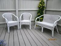 Wicker/cane small sofa & 2 chairs for conservatory or balcony/garden.