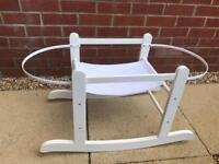 Brand new white rocking Moses basket carrier