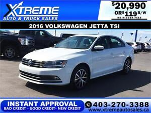 2016 Volkswagen Jetta TSI $0 Down $119 b/w APPLY NOW DRIVE NOW