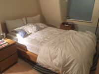 Free | Double bed frame with mattress and topper (IKEA Malm range)