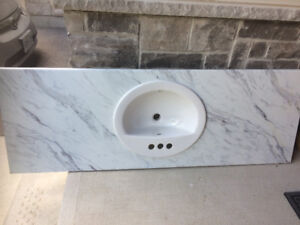Bathroom counter with basin