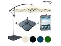 Beige 3m Jarder Cantilever Parasol with base and cover