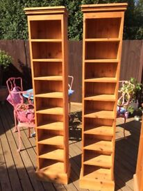 PAIR OF LARGE TALL PITCH PINE BOOKCASE/STORAGE UNITS IN VERY GOOD CONDITION FREE LOCAL DELIVERY