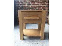 Solid Oak Bedside Table & Matching Media Cabinet