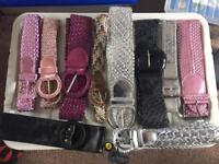Collection of 10 pink black silver belts mostly new