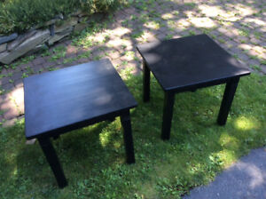Two hardwood end tables.