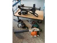 Stihl leaf blower log splitter x2 chain saws