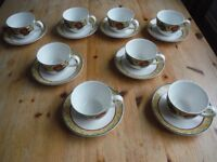 8 x ROYAL DOULTON AUGUSTINE T.C. 1196 CUP and SAUCER, NEVER USED.