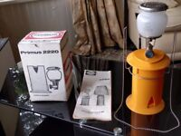 Vintage Primus 2220 camping gas lantern. Unused boxed with instruction book.