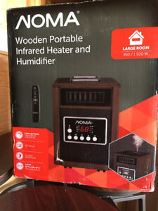 New NOMA Wooden Portable Infrared Heater and Humidifier