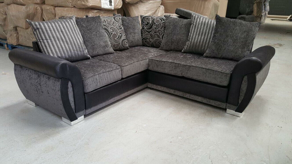 ***BRAND NEW*** Luxury Helix Chenille Fabric And Leather Corner Sofas ** FREE DELIVERY **