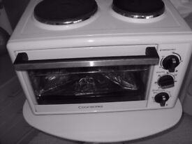 Mini Cookworks White Fan Oven with Grill, 2 hob plated and Rotisserie