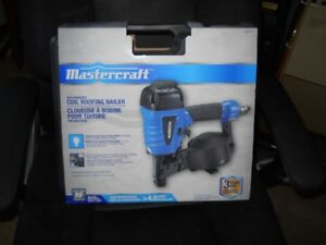 New roofing coil nailer, Mastercraft, with box of nails