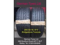 205-55-16 91V Bridgestone Turanza part worn tyres 5mm+ thread fitted