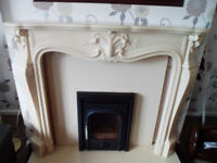Marble Fire surround grained beige colour