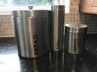 Bread bin, pasta and biscuit jars stainless steel