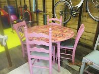 bespoke decouage dinning table and chairs
