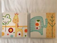 Lollipop Lane Tiddly Wink Safari wall pictures x2
