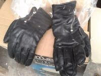 Motor bike leather gloves