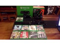 1TB XBOX ONE BUNDLE, NEARLY NEW HEADSET, 9 TOP GAMES, ALL BOXED IN GREAT CONDITION.