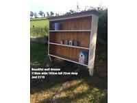 Wall dresser pine cream kitchen living dinning storage unit display cabinet oak hall