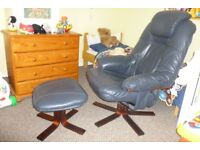 Leather reclining chair and foot stool