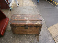 vintage victorian / edwardian travelling trunk / treasure chest / dome top toy box in yeovil