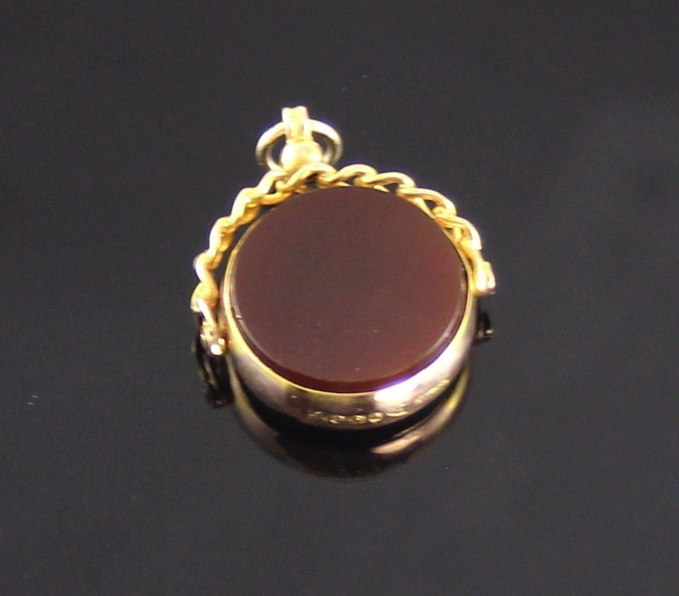 Antique 9ct gold and bloodstone carnelian swivel fob pendant antique 9ct gold and bloodstone carnelian swivel fob pendant for watch chain mozeypictures Images