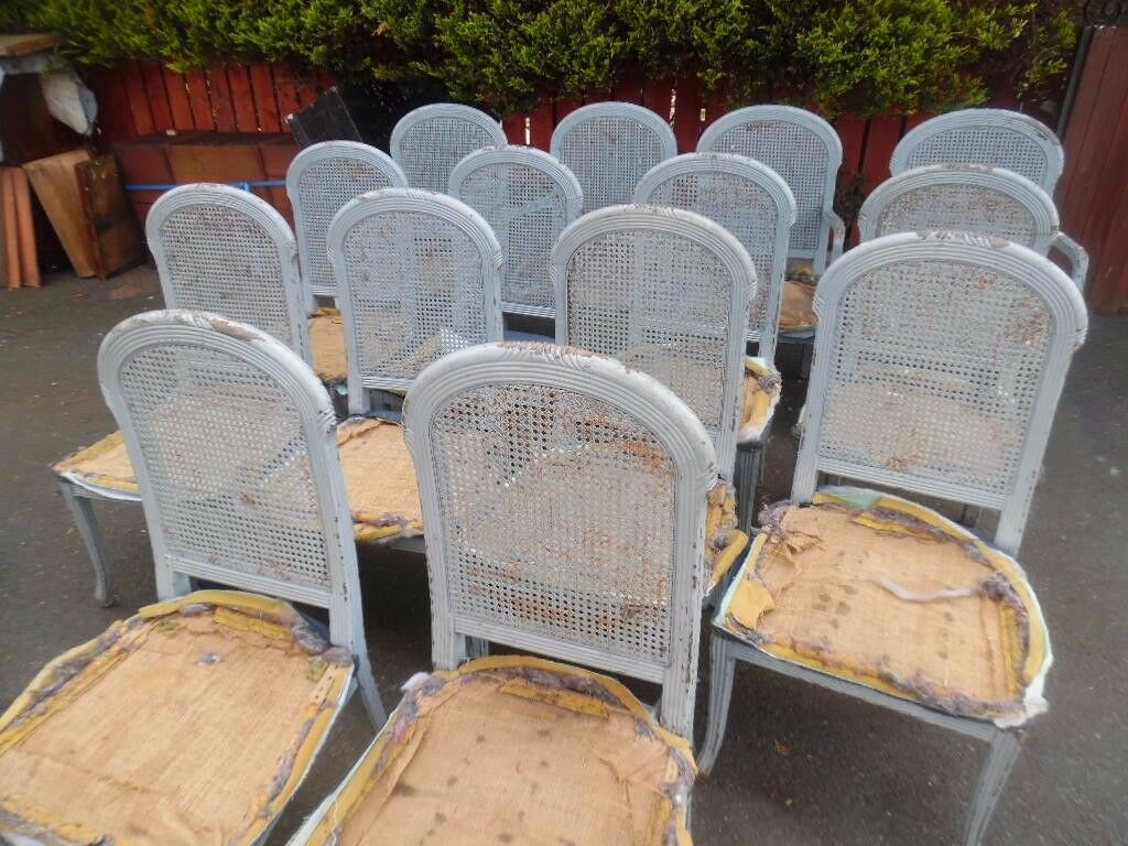 antique rattan set of chairs 14