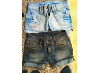 Jean bay shorts and new look top size 8-10