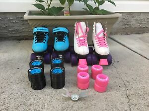 Two pairs of rollerskates and extra wheels for girls