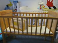 """babies wooden crib Suit birth upwards.Approx 3ft x 21""""Excellent condition."""