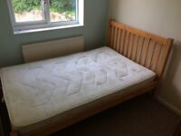 Pine Bed - John Lewis small double bed + mattress
