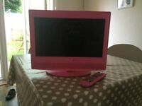"""Pink 15"""" TV with built in DVD"""