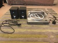 Audio technica AT LP60 record player with alesis elevate 3 speakers